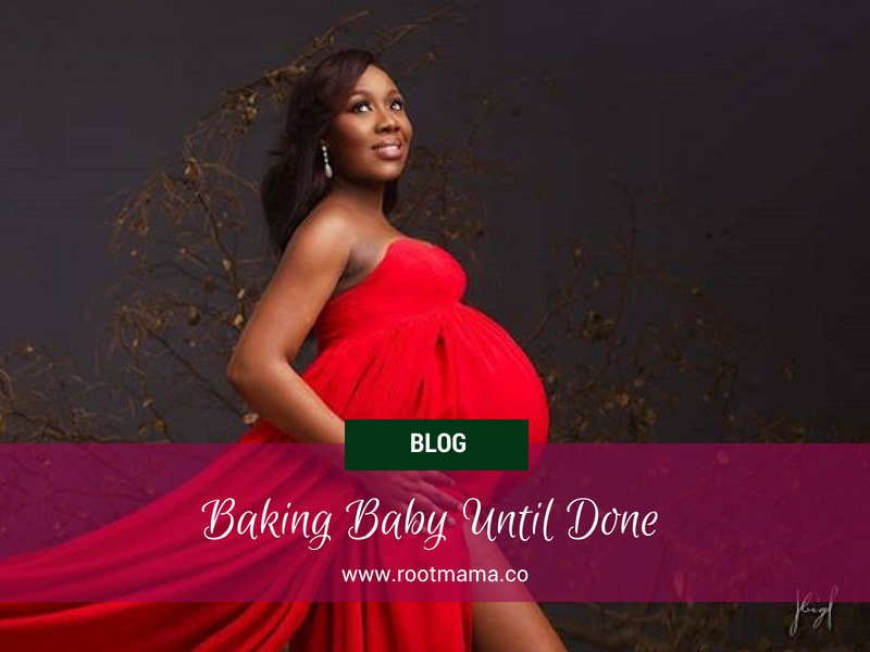 Expecting Black mother wearing red gown - Living RootMama Style